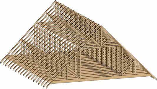 3D view of the finished, attic truses
