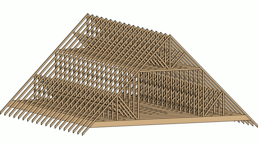 3D view of the finished, attic trusses