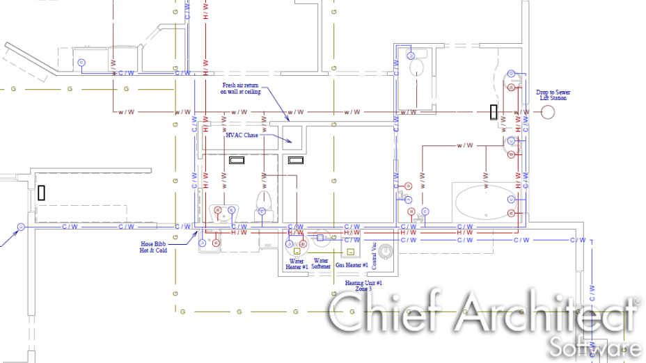 Floor plan view of CAD lines representing HVAC and plumbing runs