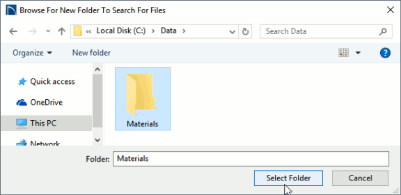 Browse for new folder or missing file dialog.