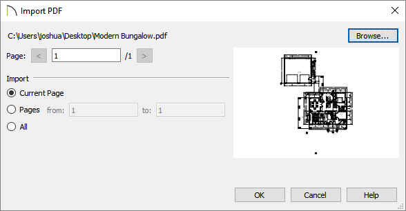 Import PDF dialog where a preview is displayed