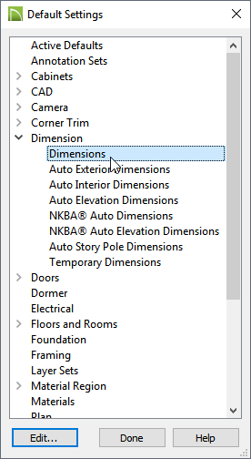 Default Settings Dialog with Dimension expanded and Dimensions selected