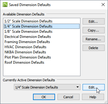 """Saved Dimension Defaults showing 1/4"""" Scale Dimension Defaults highlighted"""