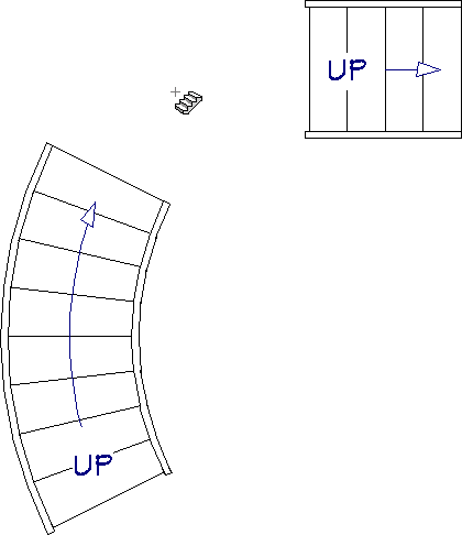 Click in between the two stair sections with the Draw Stairs tool