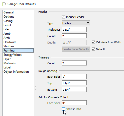 Adjust the Add for Concrete Cutout settings located on the Framing panel of the Garage Door Defaults dialog