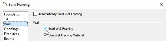Check Build Wall Framing on the Wall panel of the Build Framing dialog