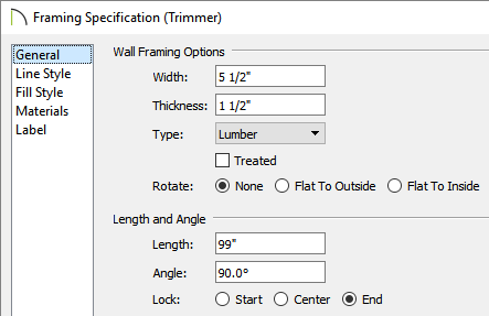 Length is specified and the Lock is set to End on the General panel of the Framing Specification (Trimmer) dialog