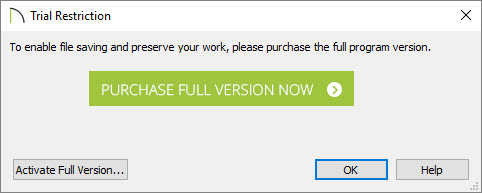 Trial Restriction dialog appears when attempting to save, export, or print