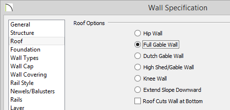 Wall Specification dialog with Full Gable Wall selected on the Roof panel