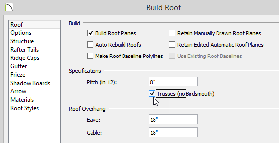 Build Roof dialog with Build Roof Planes and Trusses selected