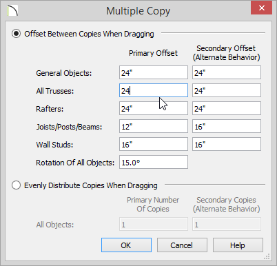 Multiple Copy dialog with 24 inches set for All Trusses Primary Offset