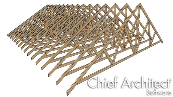 Vector view of roof trusses