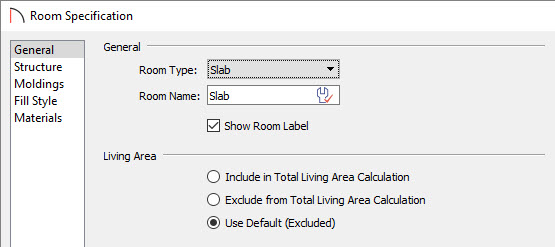 Setting the room type to a slab