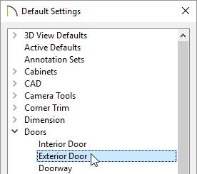 Default settings for exterior doors