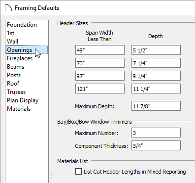 Framing defaults for openings.