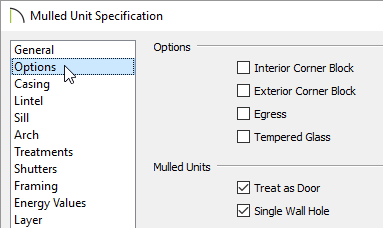 Mulled unit specification options