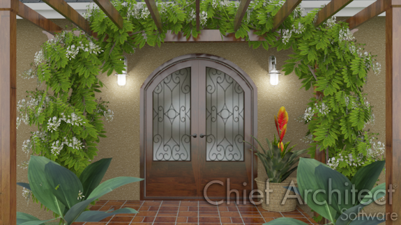 lanai patio with arched doorway