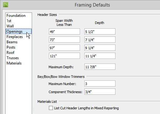 on the openings panel you can specify up to four different sizes of headers for wall openings of different widths - Window Framing