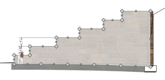 Elevation view showing diamond and square edit handles around selected retaining wall
