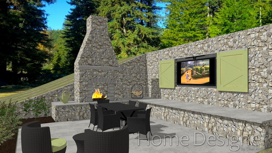 Outdoor fireplace against retaining wall with seating