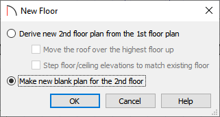 Select Make new blank plan for the 2nd floor