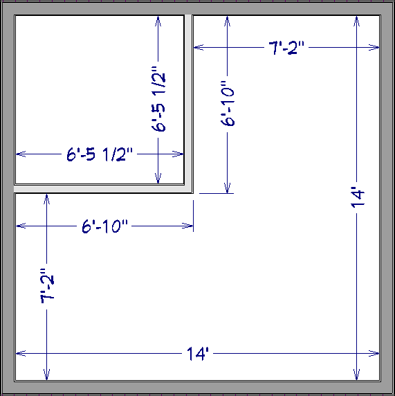 Auto Interior dimensions created for two defined rooms