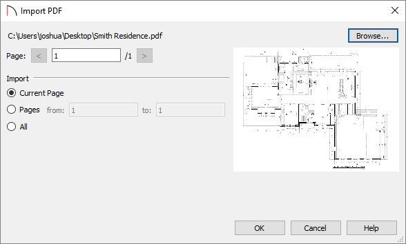 Import PDF dialog appears after selecting a PDF and clicking Open.