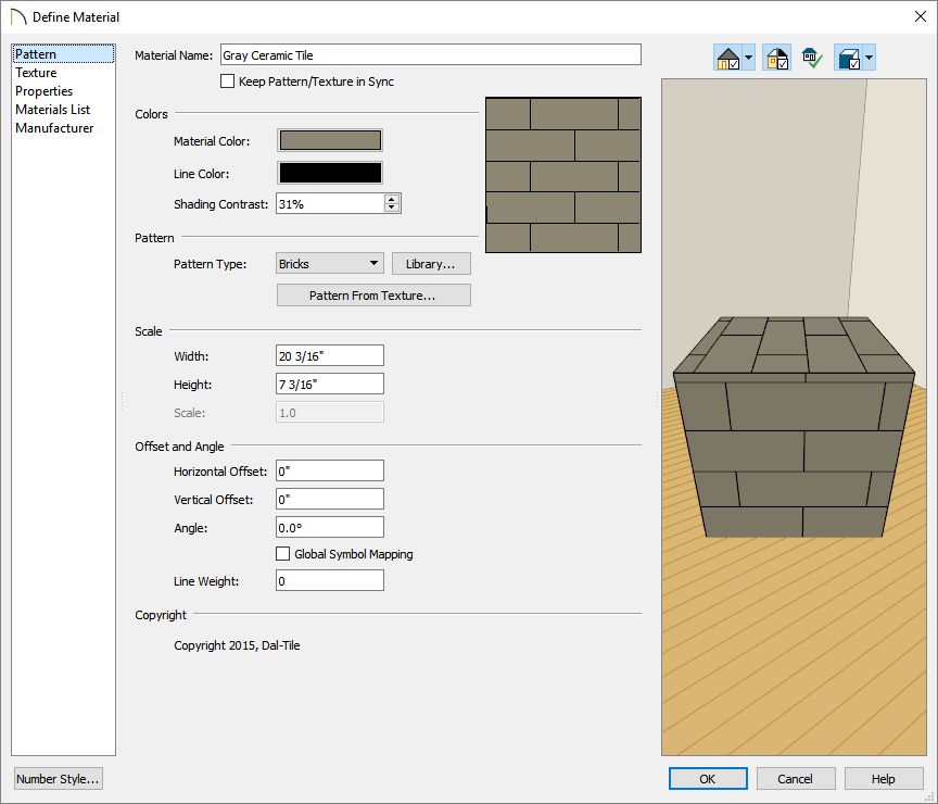 Pattern panel of the Define Material dialog is selected