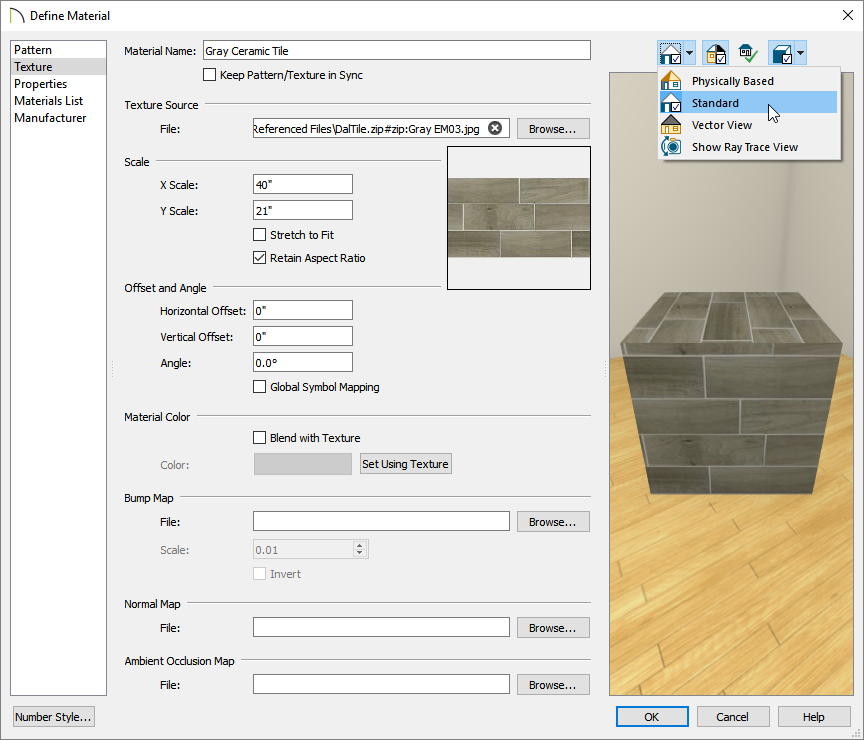 Selecting the Standard rendering technique on the Texture panel of the Define Material dialog