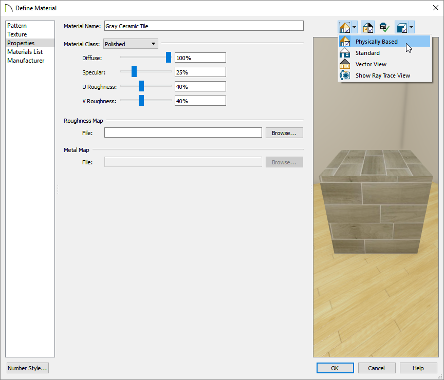 Selecting the Physically Based preview option while on the Properties panel of the Define Material dialog