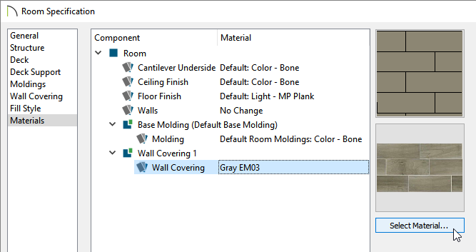 Clicking on the Select Material button located on the Materials panel of the Room Specification dialog