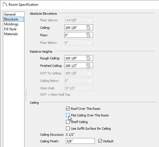 Remove the Flat Ceiling on the Structure panel of the Room Specification dialog