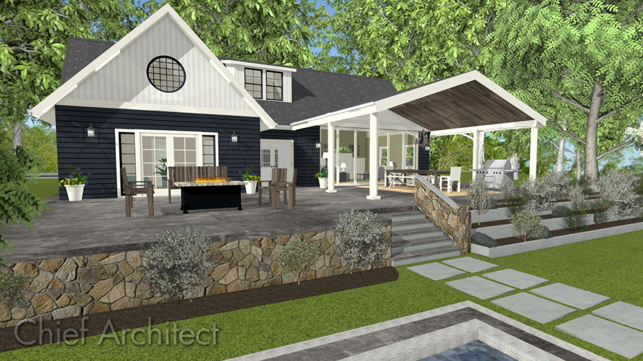 Covered patio created using room divider walls