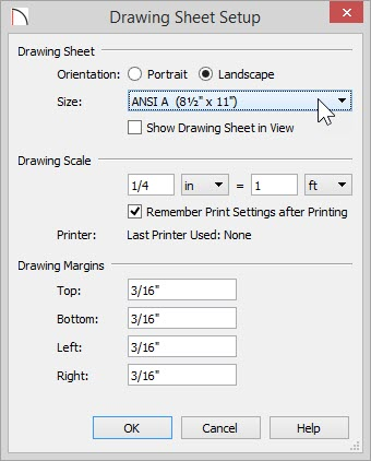 "Drawing Sheet Setup dialog with ANSI A (8 ½"" x 11"") selected for the Size"