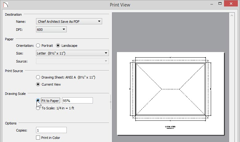 Print View dialog with Fit to Paper option selected