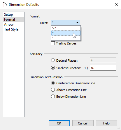 Selecting inches from the Units drop-down menu located on the Format panel of the Dimension Defaults dialog
