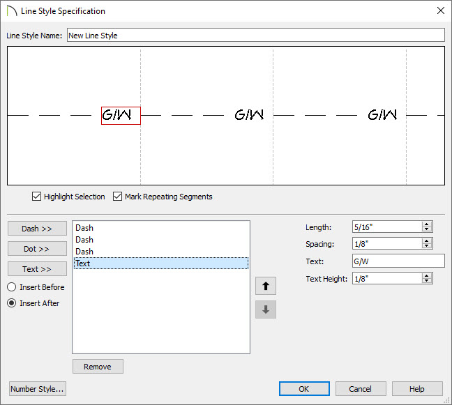 Creating a new line style in the Line Style Specification dialog