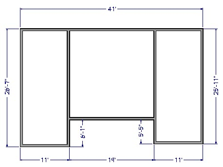 Floor plan view of house with square middle section and two rectangular sections on each side