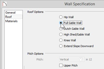 Wall Specification – Roof panel – Full Gable Wall option selected