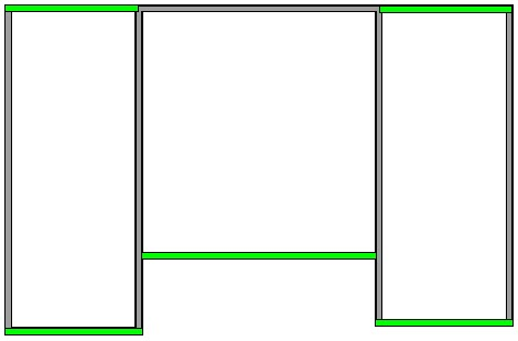 Floor plan showing which walls to set as Full Gable Wall; five of the ten walls show in green