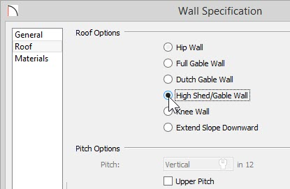 Wall Specification – Roof panel – High Shed/Gable Wall option selected