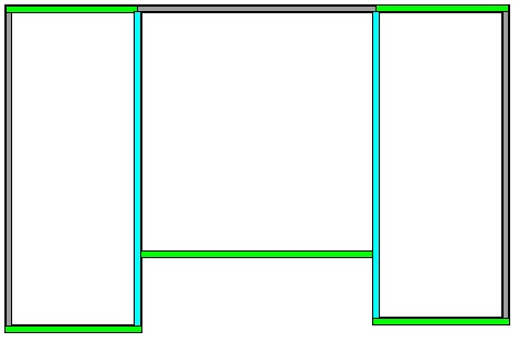 Floor plan showing which walls to set as High Shed/Gable Wall; two of the ten walls show in blue