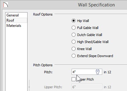 """Wall Specification – Roof panel – 4"""" in 12 entered for the Pitch"""