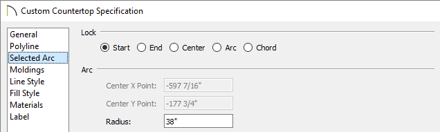 Adjust the radius manually on the Selected Arc panel of the Custom Countertop Specification dialog.