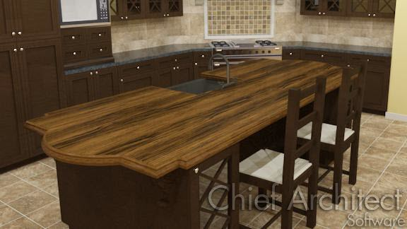 Countertops can be modified to be any shape.