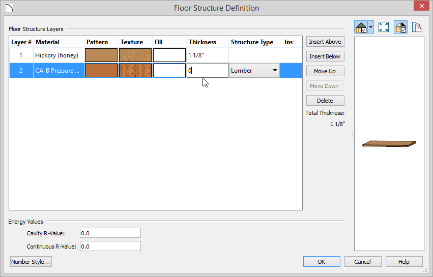 Floor Structure Definition dialog with Hickory planks, Pressure Treated Wood for layer 2. 1 1/8 inch thickness for planks and zero thickness for layer 2