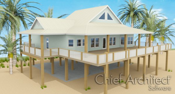 Building a house on wood pilings