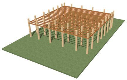 Perspective Framing Overview showing terrain, posts and joists