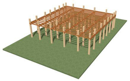 Perspective Framing Overview showing terrain, posts, stringers and joists