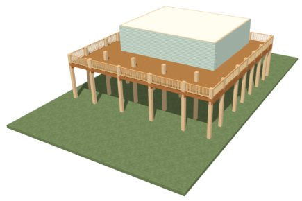 Perspective Full Overview showing terrain, posts, stringers, joists, deck planking and house